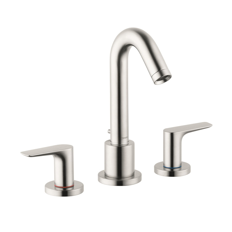 Hansgrohe 71500821 Logis Roman Tub Set Trim, 5.8 gpm, 4-7/8 in Center, Brushed Nickel, 2 Handles, Hand Shower Yes/No: No, Domestic