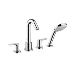 Hansgrohe 71514001 Logis Roman Tub Set, 5 gpm, 4-7/8 in Center, Chrome Plated, 2 Handles, Hand Shower Yes/No: Yes, Domestic