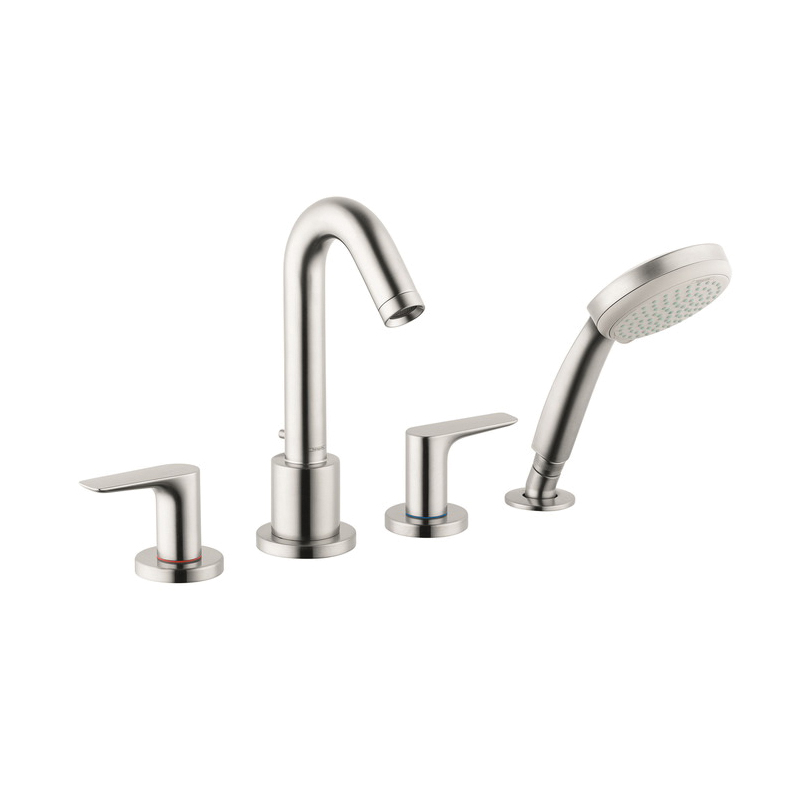 Hansgrohe 71514821 Logis Roman Tub Set, 5 gpm, 4-7/8 in Center, Brushed Nickel, 2 Handles, Hand Shower Yes/No: Yes, Domestic