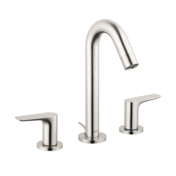 Hansgrohe 71533821 Logis 150 Widespread Bathroom Faucet, 1.2 gpm, 6 in H Spout, 8 in Center, Brushed Nickel, 2 Handles, Pop-Up Drain, Domestic