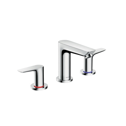 Hansgrohe 71733001 Talis E 150 Widespread Basin Mixer, 1.2 gpm, 4-1/8 in H Spout, 8 in Center, Chrome Plated, 2 Handles, Pop-Up Drain