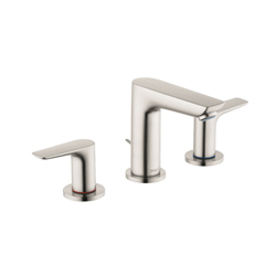 Hansgrohe 71733821 Talis E 150 Widespread Basin Mixer, 1.2 gpm, 4-1/8 in H Spout, 8 in Center, Brushed Nickel, 2 Handles, Pop-Up Drain