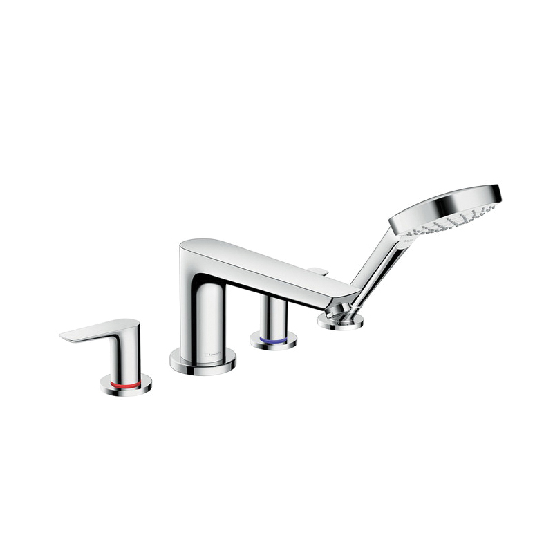 Hansgrohe 71748001 Talis E Roman Tub Set Trim, 5 gpm, 4-7/8 in Center, Chrome Plated, 2 Handles, Hand Shower Yes/No: Yes