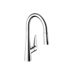 Hansgrohe 72813001 Talis S Pull-Down Kitchen Faucet, 1.75 gpm, 1 Faucet Hole, 1 Handle, Chrome Plated, Residential