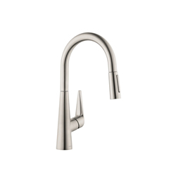 Hansgrohe 72813801 Talis S Pull-Down Kitchen Faucet, 1.75 gpm, 1 Faucet Hole, 1 Handle, Steel Optic, Residential