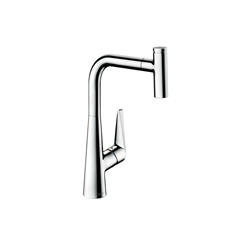 Hansgrohe 72821001 Talis S Pull-Out Kitchen Faucet, 1.75 gpm, 1 Faucet Hole, 1 Handle, Chrome Plated, Residential