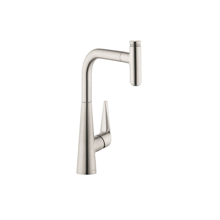 Hansgrohe 72821801 Talis S Pull-Out Kitchen Faucet, 1.75 gpm, 1 Faucet Hole, 1 Handle, Steel Optic, Residential