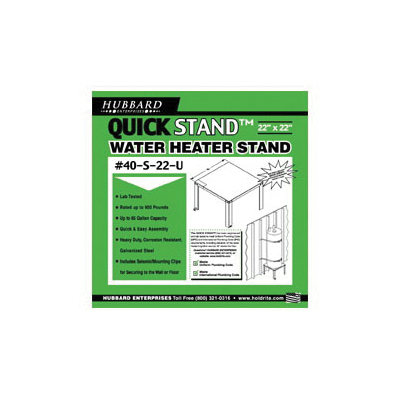 Holdrite® QUICKSTAND™ 40-S-22-U Unassembled Water Heater Stand, 22 in L x 22 in W, For Use With: 52 gal Water Heater, Cold Rolled Steel, Domestic
