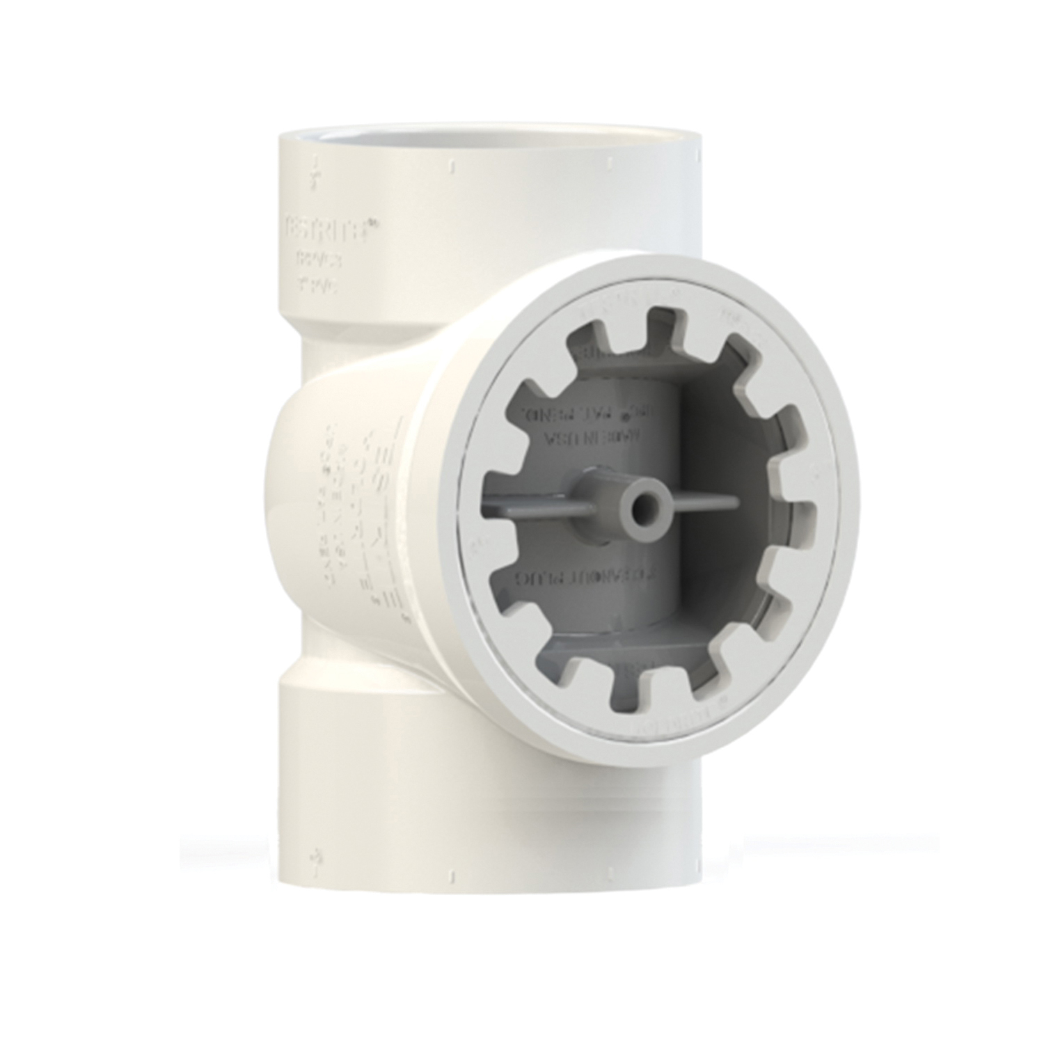 Holdrite® TESTRITE® TRPVC4A DWV Test/Cleanout Tee With Plug, 4 in, PVC, Domestic