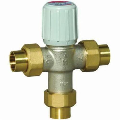Honeywell AM-1 Adjustable Lead Free Thermostatic Mixing Valve, 3/4 in, Union C, 150 psi, 0.5 gpm, Brass, Domestic