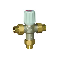 Honeywell AM101-US-1LF/U AM-1 Adjustable Thermostatic Mixing Valve, 3/4 in, Union C, 150 psi, 0.5 gpm, Brass Body, Domestic