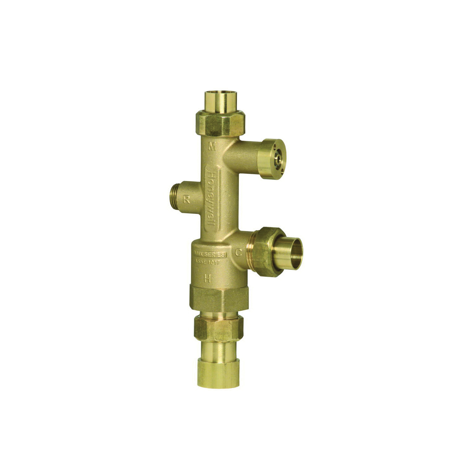 Honeywell DirectConnect™ AMX102-UT-1LF/U Thermostatic Mixing Valve, 1 in, Union NPT, Brass/Stainless Steel Body, Domestic