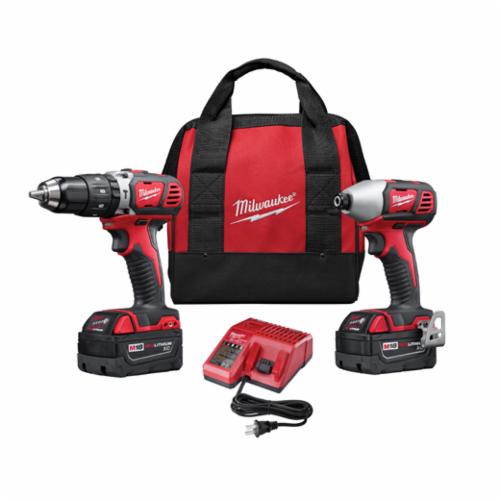 Milwaukee® 2697-22 M18™ Cordless Combination Kit, Tools: Hammer Drill, Impact Driver, 18 V, 3 Ah Lithium-Ion, Keyless