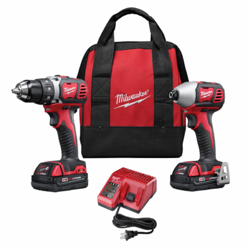 Milwaukee® 2691-22 M18™ Cordless Combination Kit, Tools: Compact Driver, Impact Driver, 18 V, 1.5 Ah Lithium-Ion, Brushed Motor