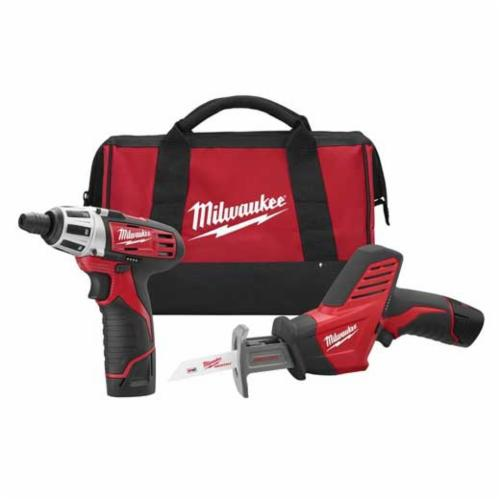 Milwaukee® 2490-22 M12™ Cordless Combination Kit, Tools: Reciprocating Saw, Screwdriver, 12 V, 1.5 Ah Lithium-Ion