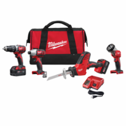 Milwaukee® 2695-24 M18™ Cordless Combination Kit, Tools: Hammer Drill, Impact Driver, Reciprocating Saw, 18 V, 3 Ah Lithium-Ion, Keyless