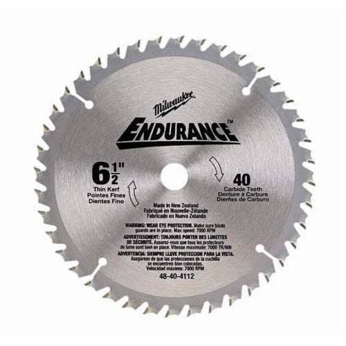 Milwaukee® 48-40-4112 Circular Saw Blade, 6-1/2 in Dia x 0.039 in THK, 5/8 in Arbor, Alloy Steel Blade, 40 Teeth
