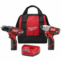 Milwaukee® 2494-22 M12™ Cordless Combination Kit, Tools: Drill, Impact Driver, 12 V, 1.5 Ah Lithium-Ion, Keyed Blade