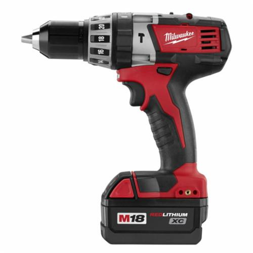 Milwaukee® M18™ 2602-22 Cordless Hammer Drill Kit, 1/2 in Single Sleeve Chuck, 525 in-lb Torque, 18 VDC, Lithium-Ion Battery