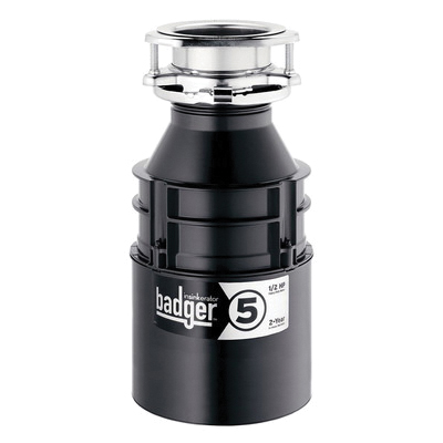 Insinkerator® 76037H Badger® 5 Continuous Feed Garbage Disposal Without Cord, 1-1/2 in Drain, 1/2 hp, 120 VAC, 1725 rpm Grinding, 26 oz Grinding Chamber, Domestic