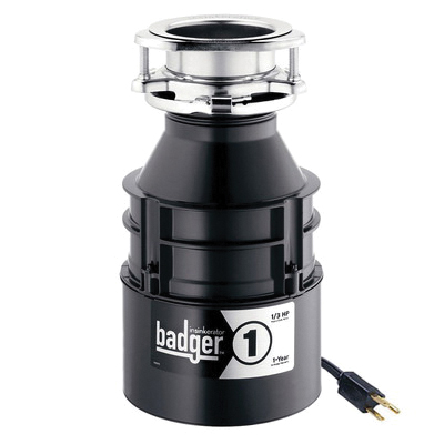Insinkerator® 76039A Badger® 1 Continuous Feed Garbage Disposal With Cord, 1-1/2 in Drain, 1/3 hp, 120 VAC, 1725 rpm Grinding, 26 oz Grinding Chamber, Domestic