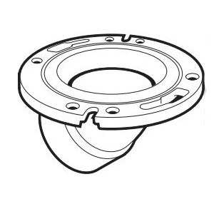 IPEX 113628SS 45 deg DWV Discharge Closet Flange With Adjustable Stainless Steel Ring, 4 x 3 in Pipe, ABS