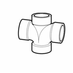 IPEX 102188 DWV Double Sanitary Tee, 2 x 2 x 1-1/2 x 1-1/2 in, Hub, ABS