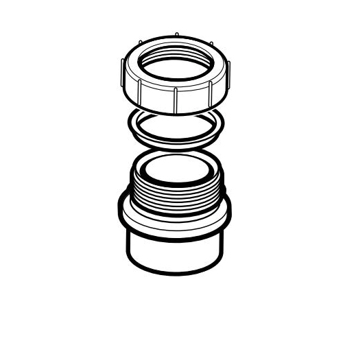IPEX 102801A DWV Fitting Trap Adapter With Washer and Nut, 1-1/2 in, Spigot x Slip, ABS