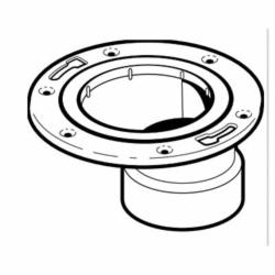 IPEX 103639M Offset DWV Closet Flange With Adjustable Metal Ring, 4 x 3 in Pipe, ABS