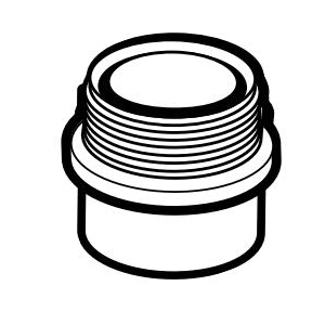 IPEX 192802 DWV Fitting Trap Adapter Without Washer and Nut, 2 in, Spigot x MNPT, PVC
