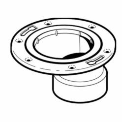 IPEX 193639M Offset DWV Closet Flange With Adjustable Metal Ring, 4 x 3 in Pipe, PVC