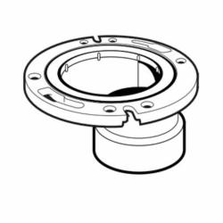 IPEX 193644 Offset DWV Closet Flange With Adjustable Plastic Ring, 4 x 3 in Pipe, PVC