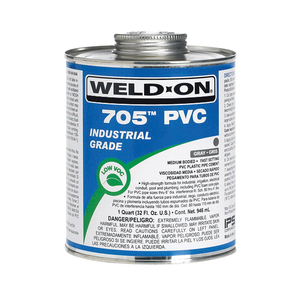 Weld-On® 705™ 10090 Low VOC Medium Bodied Fast Setting Cement With Applicator Cap, 1 qt Metal Can, Syrupy Liquid, Gray, 0.9611 at 23 deg C