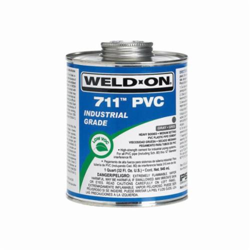 Weld-On® 711™ 10119 PVC Cement With Applicator Cap, 1 qt Can, Heavy Syrupy Liquid, Gray, 0.966