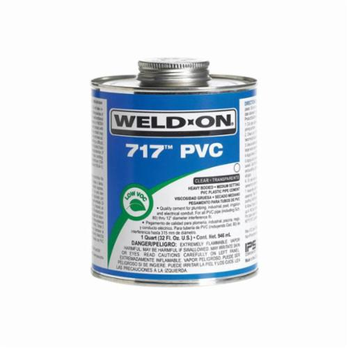 Weld-On® 717™ 10142 PVC Cement With Screw-On Wide Mouth Cap, 1 gal Can, Heavy Syrupy Liquid, Gray, 0.963