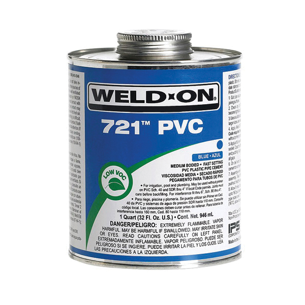 Weld-On® 721™ 10160 Low VOC Medium Bodied Fast Setting High Strength Solvent Cement, 1 gal Metal Can, Syrupy Liquid, Blue, 0.995 at 23 deg C