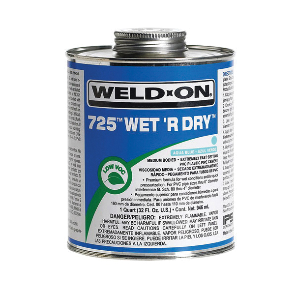 Weld-On® 725™ Wet R Dry™ 10166 Low VOC Medium Bodied Extremely Fast Setting Cement With Applicator Cap, 1 pt Metal Can, Syrupy Liquid, Aqua Blue, 0.924 at 23 deg C