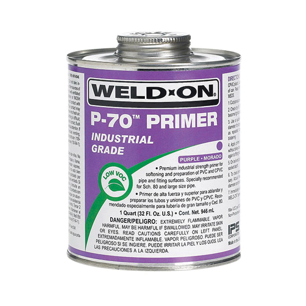 Weld-On® P-70™ 10220 Low VOC Premium Industrial Strength Primer With Screw-on Cap, 1 gal Metal Can, For Use With PVC and CPVC Plastic Pipe, Clear