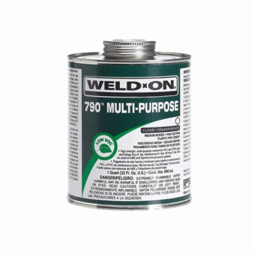 Weld-On® 790™ 10260 Multi-Purpose Cement With Applicator Cap, 0.25 pt Can, Medium Syrupy Liquid, Light Amber, 0.934