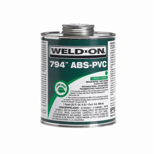 Weld-On® 794™ 10275 ABS-PVC Transition Cement, 0.5 pt Can, Medium Syrupy Liquid, Green, 0.927