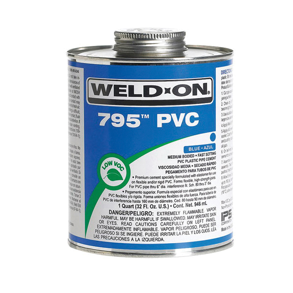Weld-On® 795™ 10280 Low VOC Medium Bodied Fast Setting Solvent Cement With Applicator Cap, 1 qt Metal Can Container