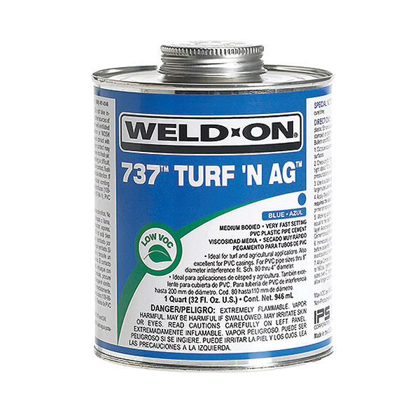 Weld-On® 737™ Turf N Ag™ 10988 Low VOC Medium Bodied Very Fast Setting Cement With Screw-on Cap, 1 gal Metal Can, Syrupy Liquid, Blue, 0.924 at 23 deg C
