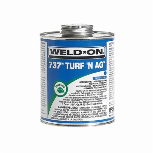 Weld-On® 737™ Turf N Ag™ 10989 PVC Speciality Cement With Applicator Cap, 1 qt Can, Medium Syrupy Liquid, Blue Fade to Clear, 0.924