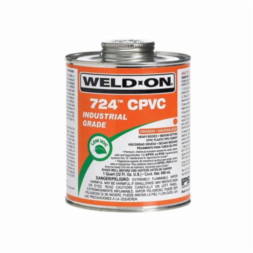 Weld-On® 724™ 11890 CPVC Cement With Applicator Cap, 1 pt Can, Heavy Syrupy Liquid, Gray/Orange