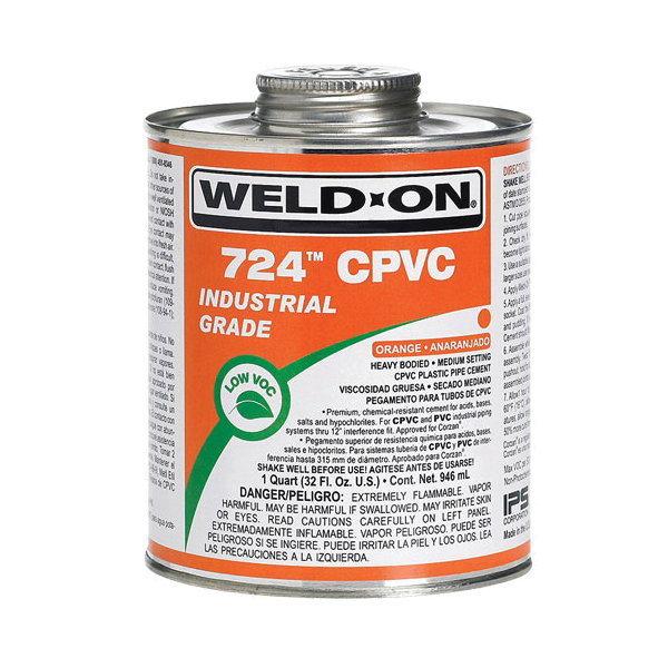 Weld-On® 724™ 12817 Low VOC Heavy Bodied Medium Setting Cement With Screw-on Wide-mouth Cap, 1 gal Metal Can, Syrupy Liquid, Orange, 0.984 at 23 deg C