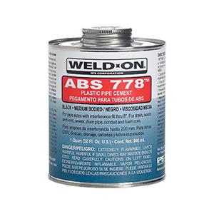 Weld-On® 778™ 13533 Regular VOC Medium Bodied Fast Setting Cement With Applicator Cap, 1 qt Metal Can, Syrupy Liquid, Black, 0.889 at 23 deg C