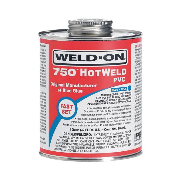 Weld-On® 750 HOTWELD™ 13751 Low VOC Medium Bodied Fast Setting High Strength Solvent Cement With Applicator Cap, 1 qt Metal Can, Syrupy Liquid, Blue, 0.962 at 23 deg C