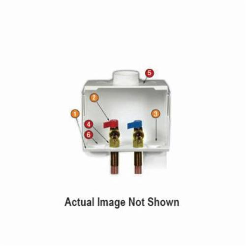 Water-Tite DU-ALL™ 82057 Dual Drain Washing Machine Outlet Box With Valve, Brass, Domestic