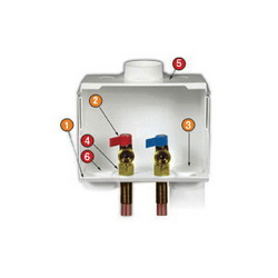 Water-Tite DU-ALL™ 82008 Dual Drain Washing Machine Outlet Box With Quarter Turn Valve, White, Domestic