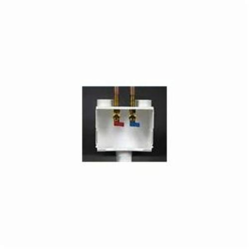 Water-Tite DU-ALL™ 82056 Outlet Box With Quart Turn Valve, For Use With Dual Drain Washing Machine, 1/2 in PEX, Brass, White